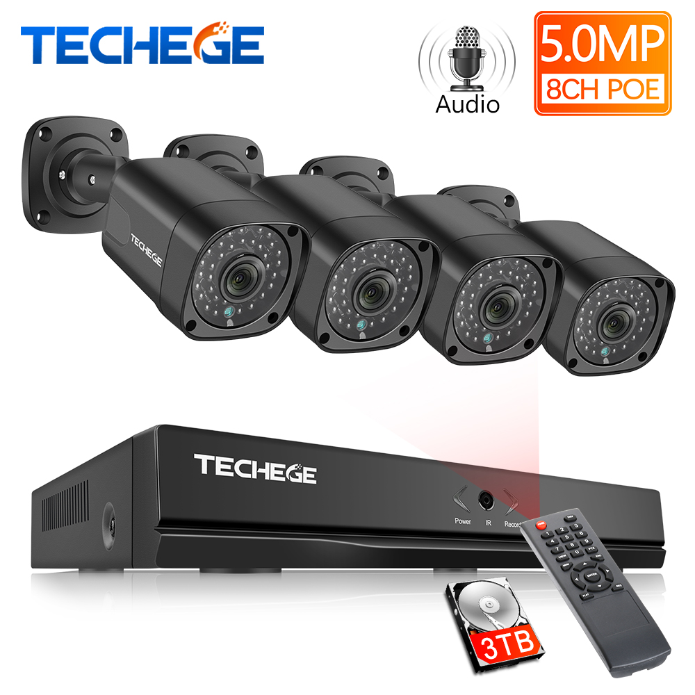 Techege 8CH H.265 Super HD 5MP 2592x1944 Audio POE Security Camera System Kit Outdoor Waterproof CCTV PoE Surveillance Kit Onvif