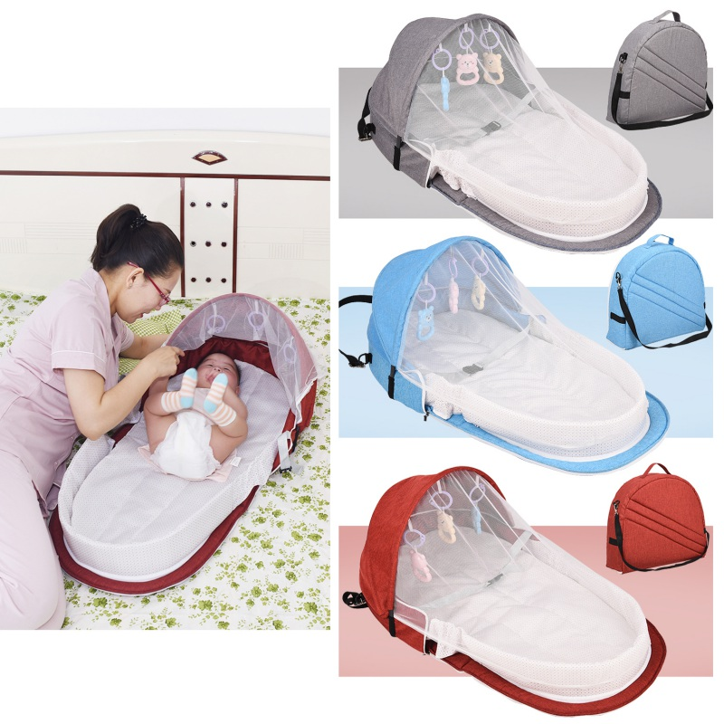 Lovely Portable Bed With Toys For Baby Foldable Baby Bed Travel Sun Protection Mosquito Net Breathable Infant Sleeping Basket
