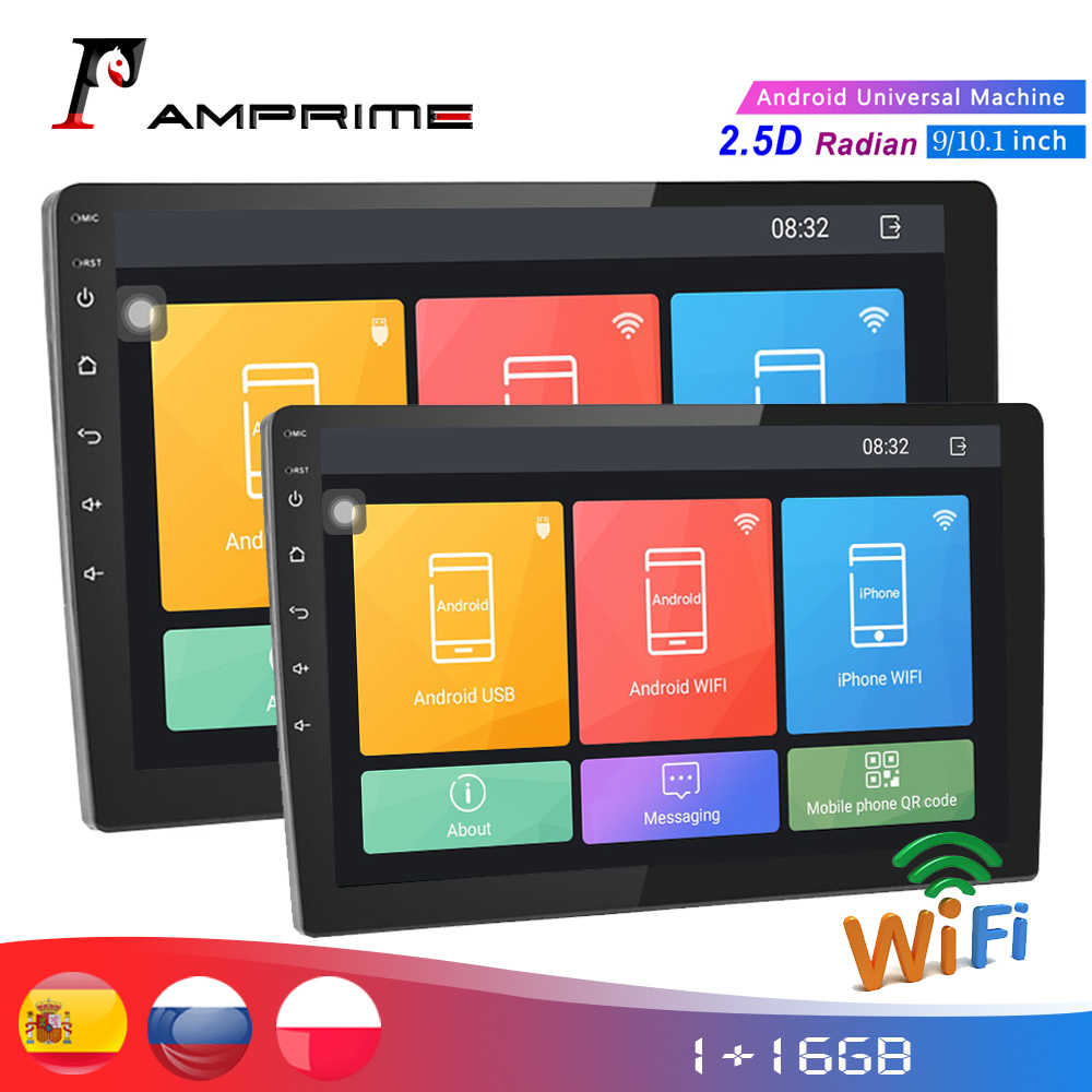 "Amprime Android 10.1 ""2din Car Multimedia Player Gps Wifi Touch Screen Auto Radio Audio Stereo Bt Usb Fm Met achteruitrijcamera"