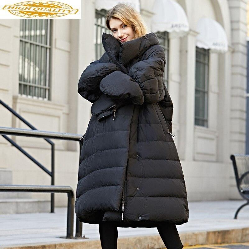 Oversize Winter Down Jacket Women With Gloves Long Korean Duck Down Coat Winter Puffy Jacket 2020 Casacas De Mujer 15799 KJ2742