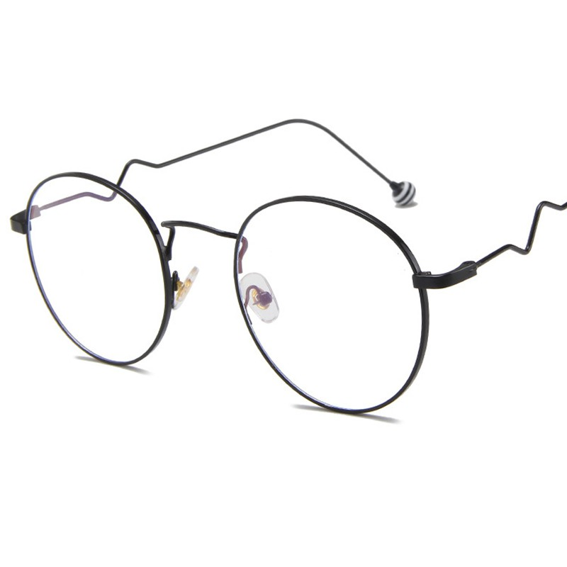 Fashion Anti Blue Rays Computer Glasses Blue Light Gaming Glasses Protection Vintage Round Metal Frame Wavy Legs Eyeglasses