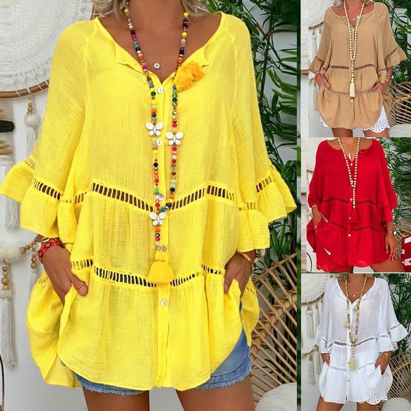 Large Size Women Blouses 2020 Summer Women Blouse Seven-quarter Sleeves Cotton And Linen V-neck Loose Button Cutout Tops Shirt