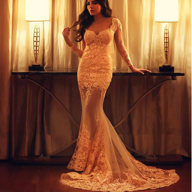 Vintage Mermaid Evening Gown Long Sleeve Sweetheart Lace Appliques Party Prom Robe De Soiree Vestido Mother Of The Bride Dresses