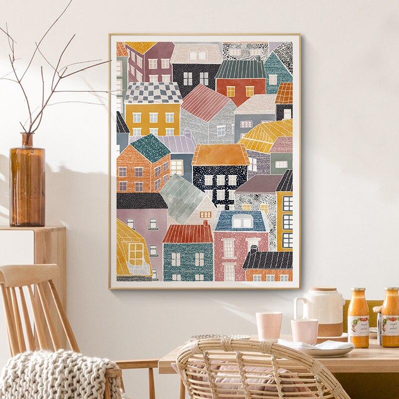 Абстрактная Скандинавская Wall Art плакат скандинавский красочный игровой домик мотивационные фразы в холст картины для Гостиная домашний де...