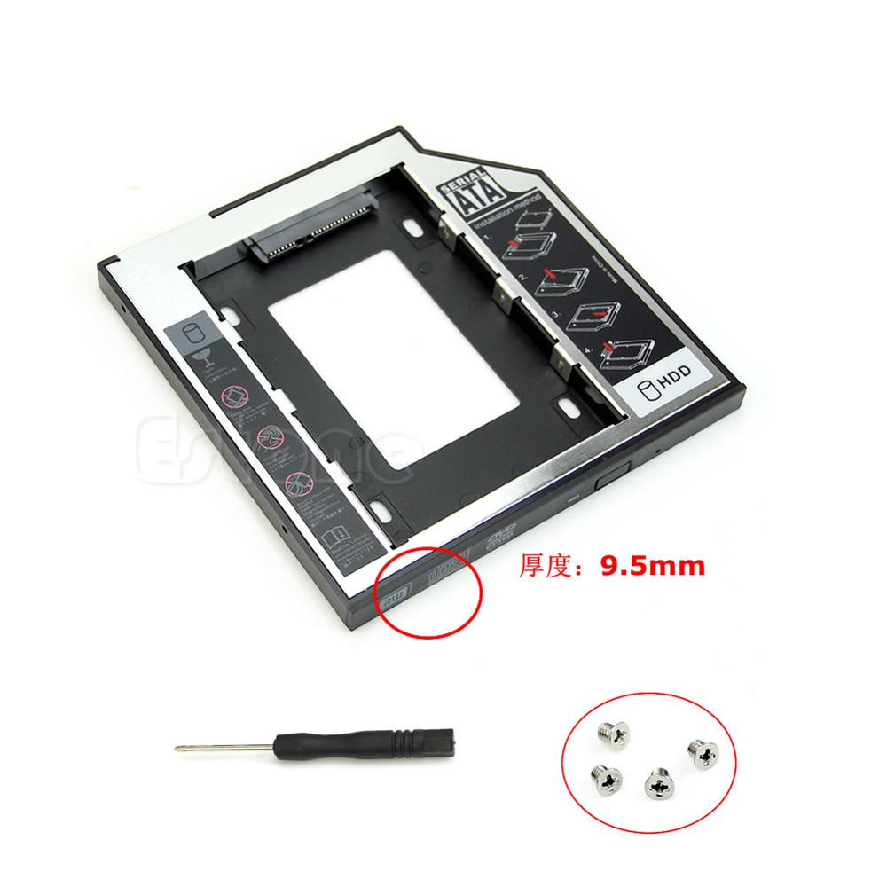 Universal 1PC 9.5mm SATA 2nd HDD SSD Hard Drive Caddy For CD DVD-ROM Optical Bay