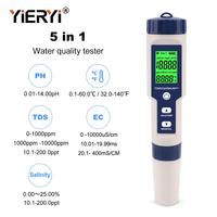 yieryi 5 in 1 TDS/EC/PH/Salinity/Temperature Meter Digital Water Quality Monitor Tester for Pools, Drinking Water, Aquariums