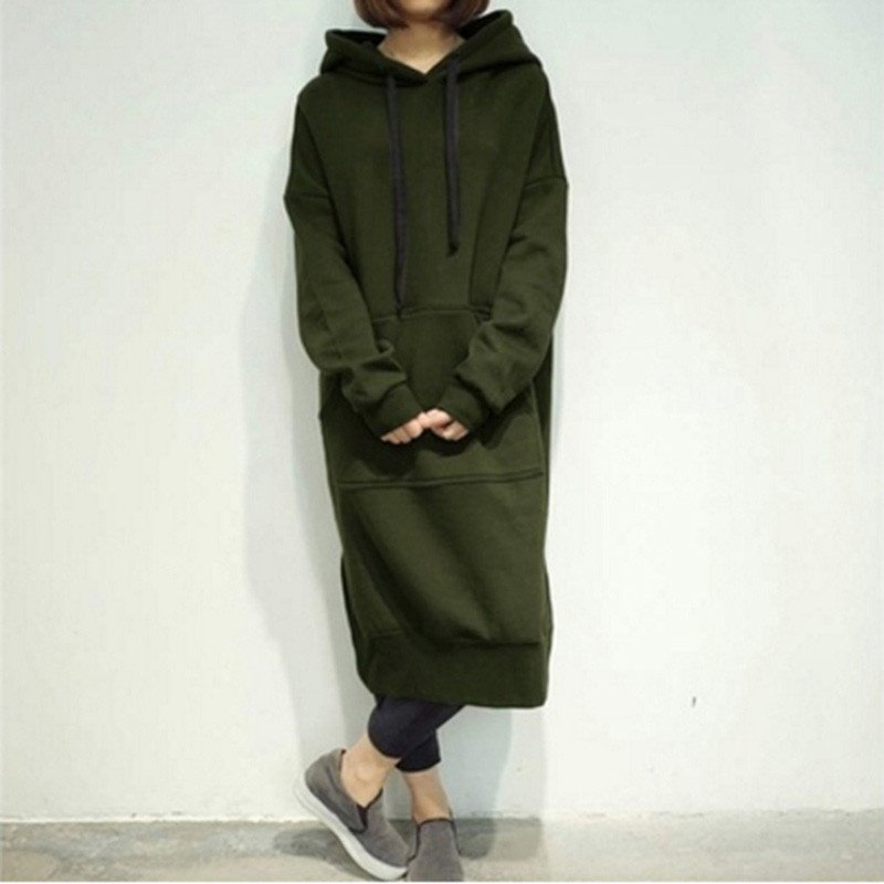 Autumn Winter Casual Women Long Hoodie Solid Turn-Down Collar Sweatshirt Hooded Plus Size 5XLFemale Loose Pullover