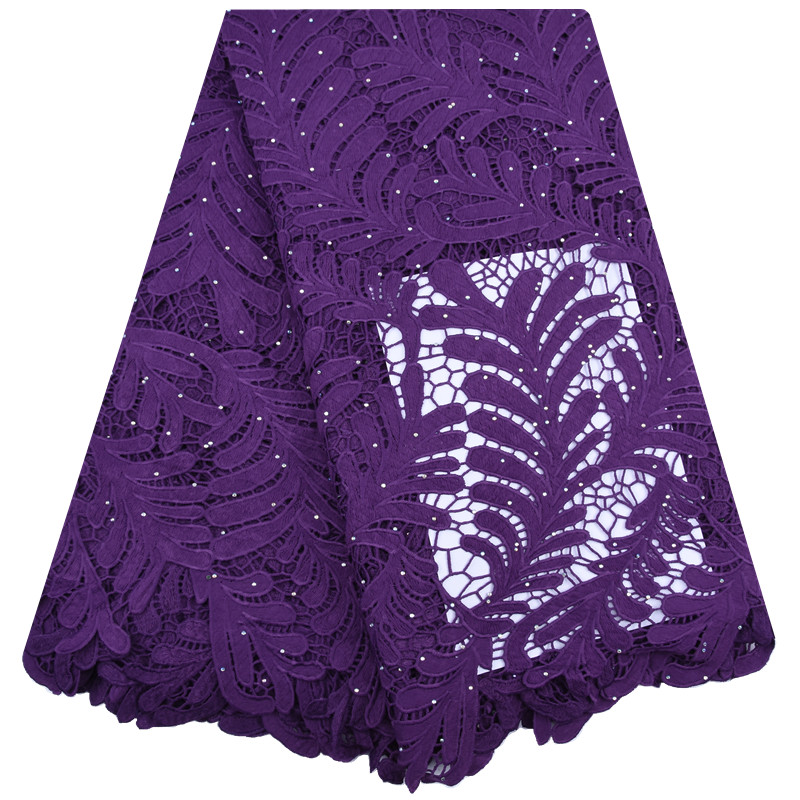 African Guipure Cord Lace Milk Silk Fabric Stoned Nigerian Water Soluble For Sewing Dress F1743