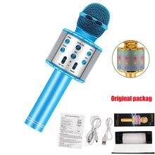 Bleu 4 en 1 LED sans fil Bluetooth Microphone haut parleur professionnel poche karaoké micro lecteur de musique chant enregistreur KTV micro
