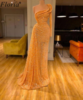 Fashion Couture Orange Cocktail Dresses 2020 Long Muslim Prom Dresses Woman Party Night One Shoulder Evening Gowns With Beading