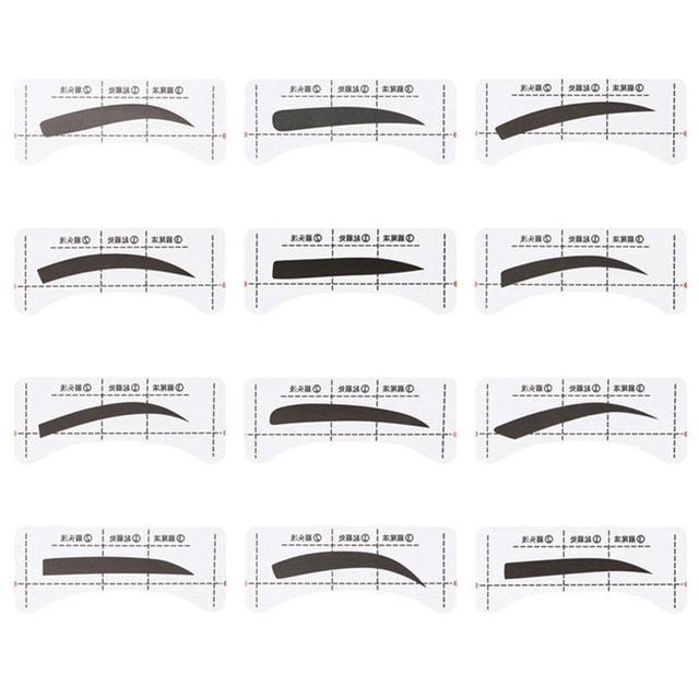 4/12Pcs/set Thrush Card Threading Word Eyebrow Makeup Tools Threading Artifact Thrush Aid Card Eyebrows Mold 3