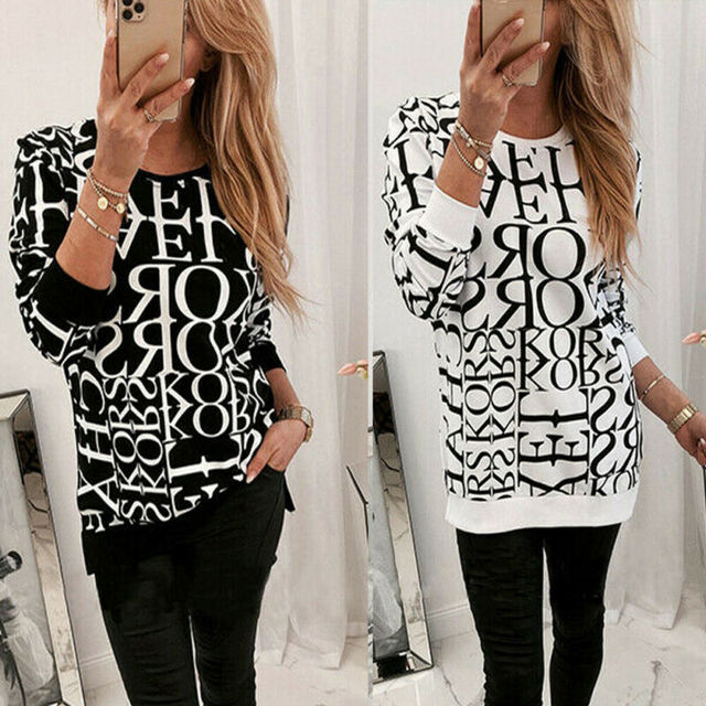 1PC 2020 Women Blouses Long Sleeve Letter Print Tops Pullover Tops Blouse Printed Shirts Ladies Shirts And Blouses Woman Clothes