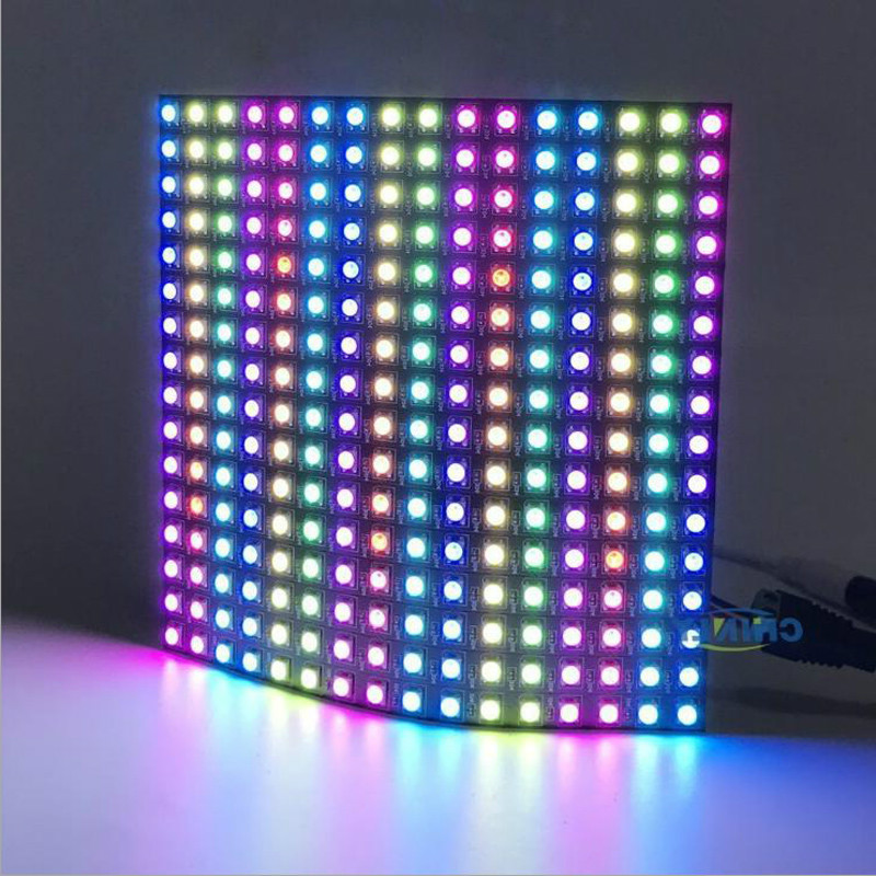 16x16 Pixel WS2812B LED Digital Flexible Individually Addressable Panel Light 16*16 256leds Mini Led Screen Matrix Lamp DC5V