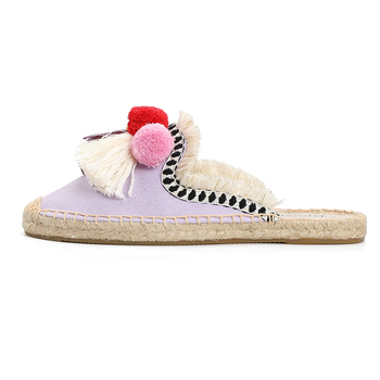 Furry Slippers Women Rubber Hemp Colors Tienda Soludos Spring Summer Tassel Fluffy Ball Canvas Mule Shoes Espadrilles Slides 5