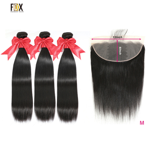 FDX 13x6 Lace Closure Hair Straight 3 Bundles with Closure Hair 100% Brazilin Human Hair Remy Hair Weave Bundles Extensions