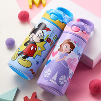 Kids Straw Thermos Bottle Water Feeding Cup Mickey Children School Kettle 500ml 304 Stainless Steel Portable Thermal Cup