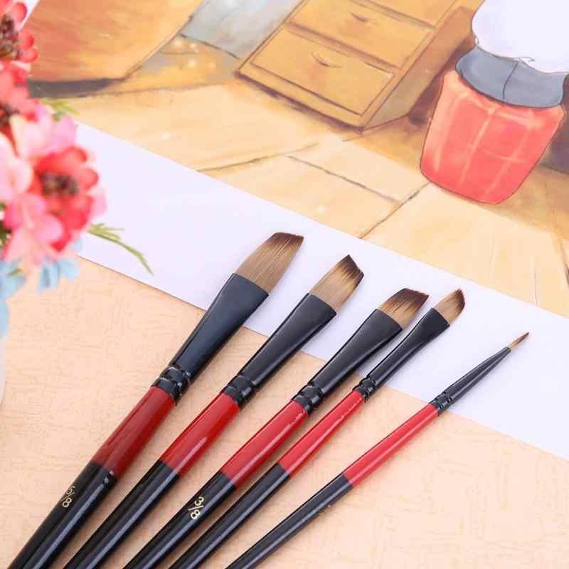 5 шт. нейлоновая алюминиевая трубка для волос набор кистей и ручек для обучения масла акриловая акварель кисти для краски поставки Новые