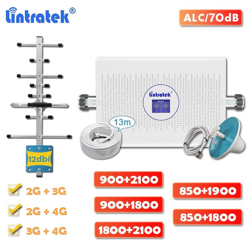 Lintratek 70dB Dual Band 2g 3g 4g Signal Booster DCS LTE 1800 Cellular Amplifier GSM 900 WCDMA 2100 CDMA 850 PCS 1900 Full Kit