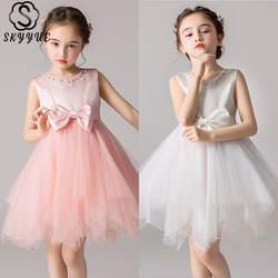 Skkyue Beeding резервуар в виде шара, детское вечернее платье для девочек с круглым вырезом и бантом, платье для причастия, пышное платье для
