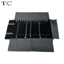 2019 Fashion Black Velvet Jewelry Roll Bag for Jewellery Pendant Organizer Storage Bag Portable Necklace Display Cases