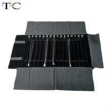 2019 אופנה קטיפה שחורה תכשיטי רול תיק עבור תכשיטי תליון ארגונית אחסון תיק נייד שרשרת ויטרינות