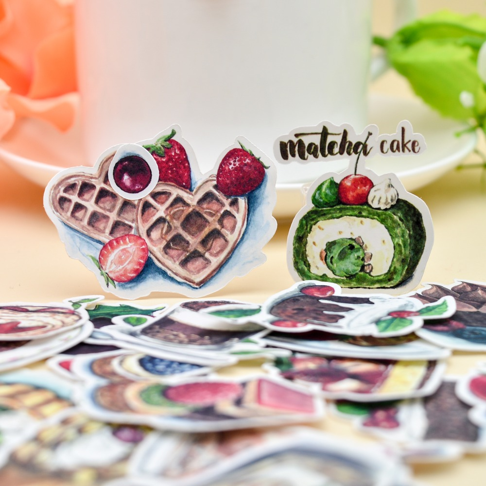 35pcs Kawaii  Cakes And Drink Food Sticker Decorative Watercolor Stickers/ Dairy Letter Planner Scrapbooking DIY Paper Naklejki