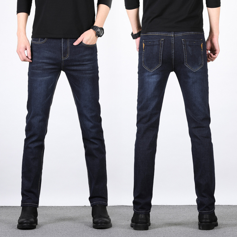 2019 Spring Clothing New Style Men Elasticity Jeans Casual Straight-Cut Pants Korean-style Slim Fit Common Style Hot Selling Tro