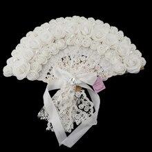 Del merletto della Rosa Fiori di Disegno di Plastica Pieghevole Ventilatore Tenuto In Mano (Bianco)
