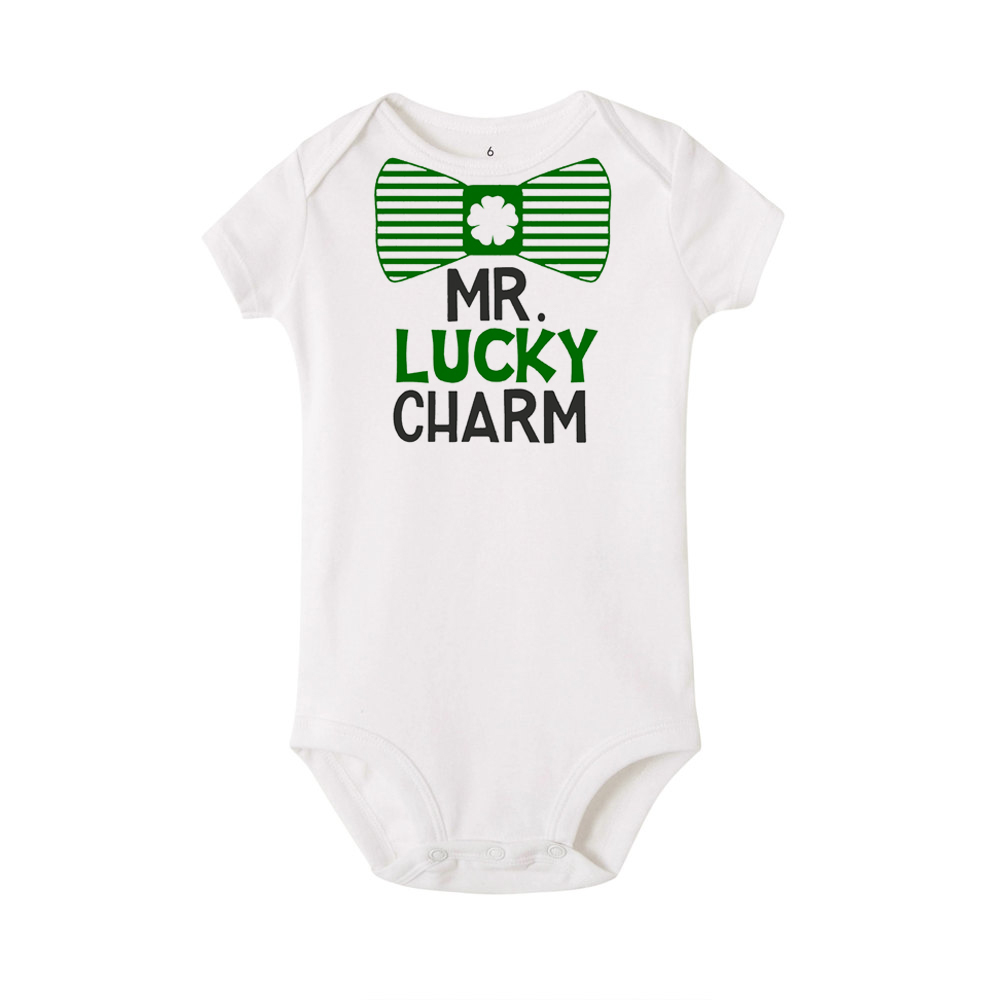 Baby Boy or Girl St Patricks Day One-Piece Long Sleeve Romper Outfit Lucky Charm