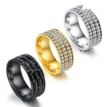 Simple Black Rhinestone Titanium Steel Rings For Women Vintage Gold Ring Jewelry Female Wedding Rings Fashion Silver Ring Gifts(China)
