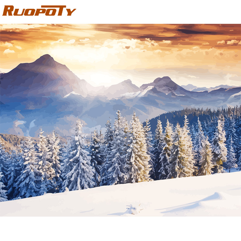 H935287ef93e640e2ab8c49e959a9a00bV RUOPOTY Frame Mountain Lake DIY Painting By Numbers Landscape Handpainted Oil Painting Modern Home Wall Art Canvas Painting Art