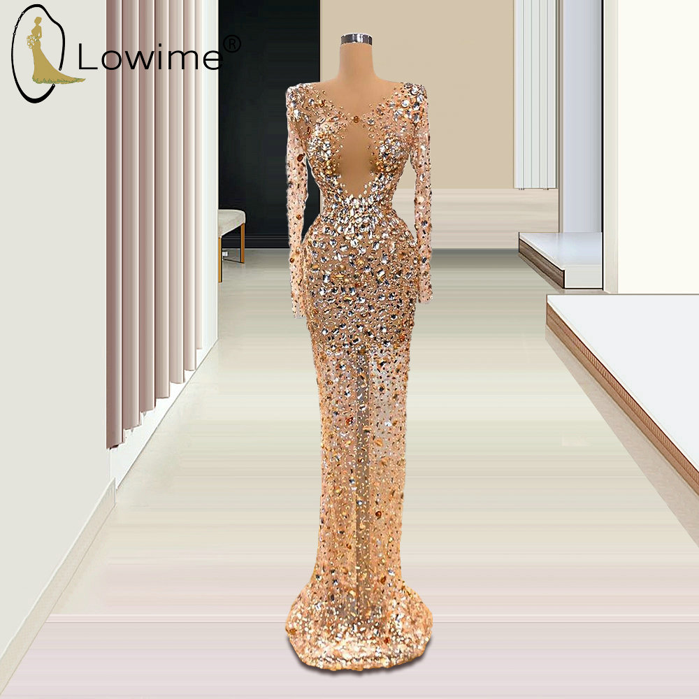 Rose Gold Sexy See Through Long Sleeve Evening Dresses Mermaid V Neck Crystal Beaded Formal Dress For Party 2020