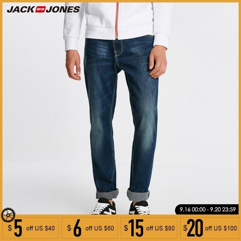 Jack Jones Men Jeans Brand Thick Warm Cotton Solid Straight Jeans Denim Trousers Mens Biker Jeans | 218432505