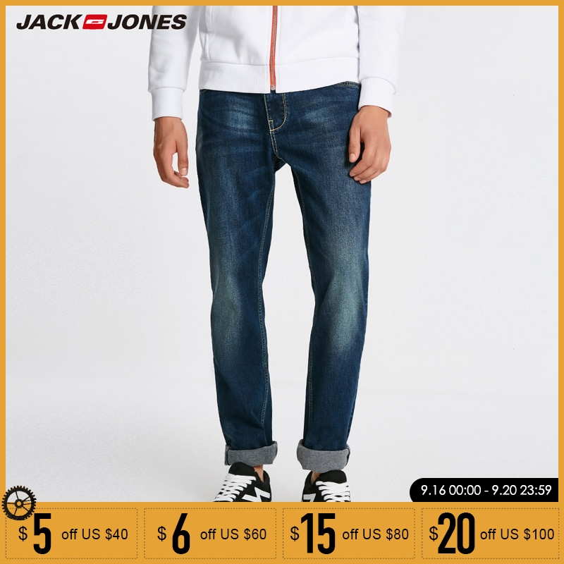 Jack Jones Men   Jeans   Brand Thick Warm Cotton Solid Straight   Jeans   Denim Trousers Mens Biker   Jeans   | 218432505