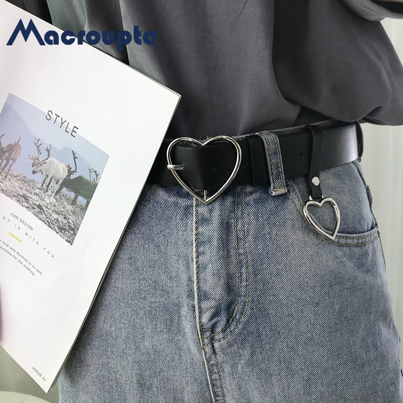 Fashion Women PU Leather Belt Heart Female Cute Black Harajuku Belt Ladies Pants Party Dress Heart Belts For Jeans