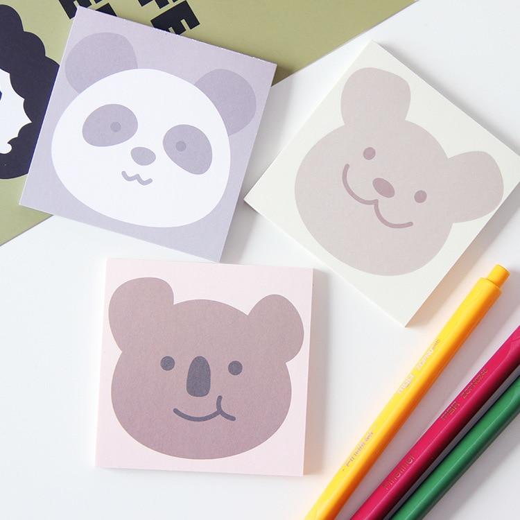 SIXONE 50 Sheets Cute Cartoon Smile Koala Bear Panda Memo Pad Portable Kawaii Cohesionless Student School Notebook Stationery