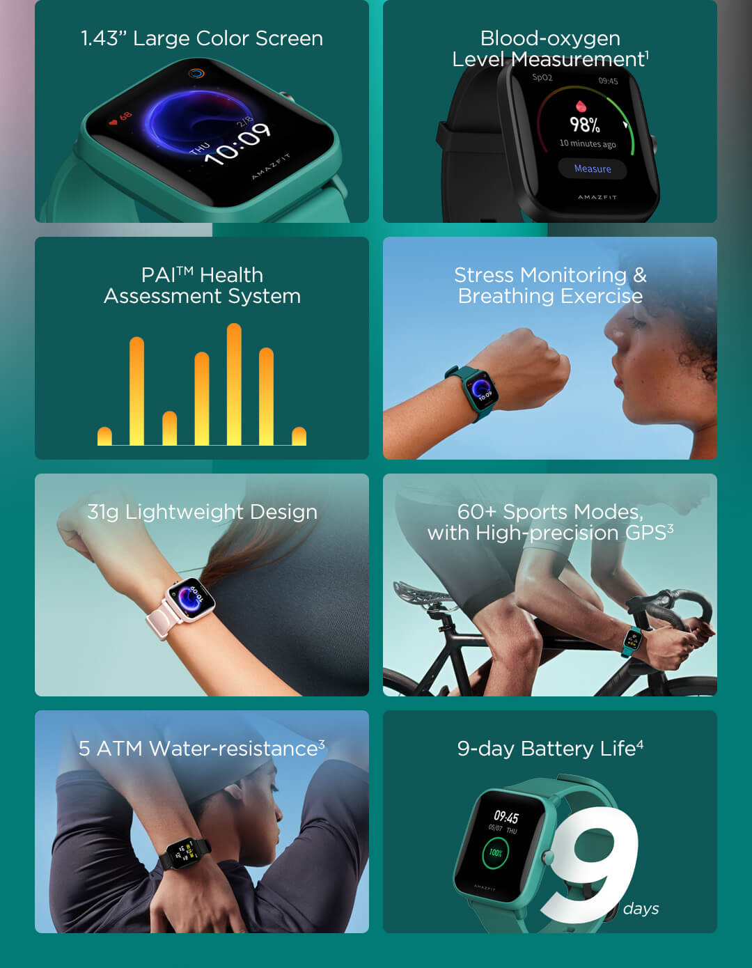 AMAZFIT Bip U Smartwatch, jam tangan pintar, bluetooth, 5ATM, smart fitness, 1.4 inch screen, sports more, blood oxygen, heart rate monitor, sleep monitor