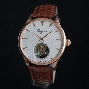 Image 4 - פשוט גברים אמיתי Tourbillon שעון אמיתי תנין עור עסקי רצועת Mens מכאני יד שעונים ST8000 יד רוח