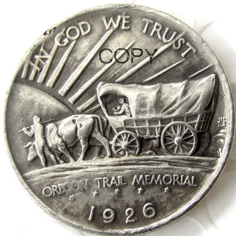 USA 1926 - 1939 Oregon Trail Memorial Half Dollar Copy Coins Silver Plated