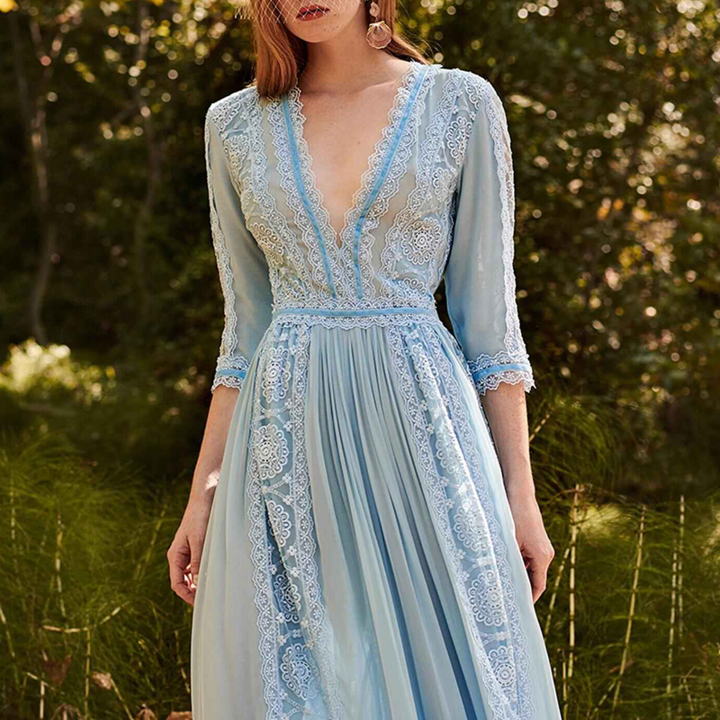 Élégant bleu évider dentelle longue robe de soirée femmes été col en v demi manches en mousseline de soie Patchwork plissé Maxi robe robe de piste - 3