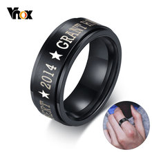 Vnox Personalized Stainless Steel Black Spinner Class Rings for Men 8mm Engraved Wedding Rings Jewelry Simple Customize Gift(China)