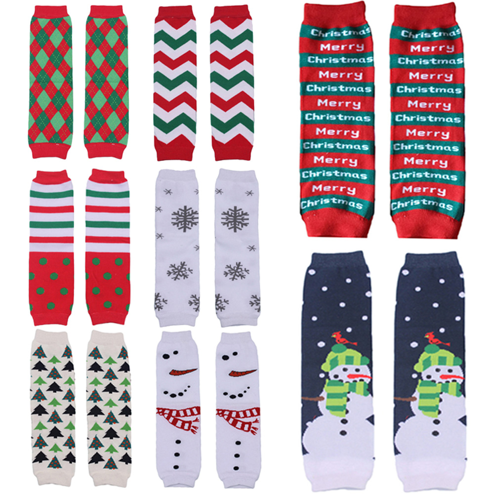 Baby Toddler Kid Christmas Tree Santa Arm Leg Warmers Cotton Cute Socks Tights WATXW0506