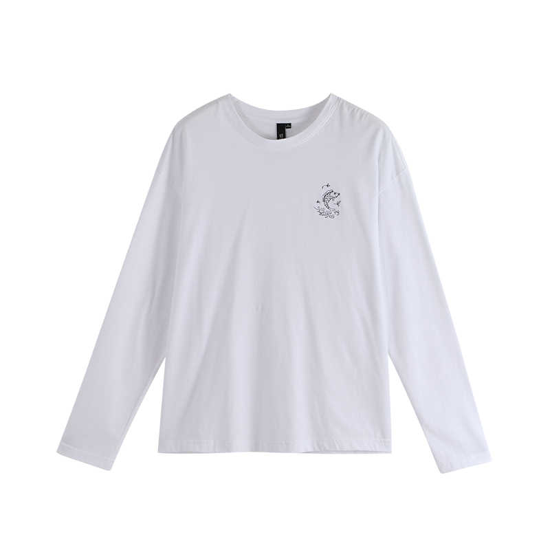 Toyouth-camisetas informales de manga larga con cuello redondo para mujer, blusas holgadas con estampado de peces, Tops negros de otoño