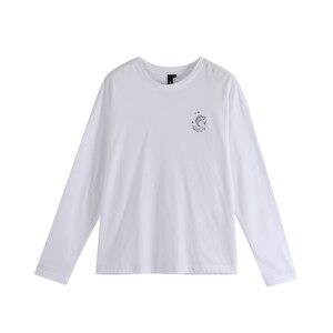 Image 5 - Toyouth casual Girocollo maglia A Manica Lunga T Shirt Allentato Pesce Stampato Autunno Nero Magliette e camicette