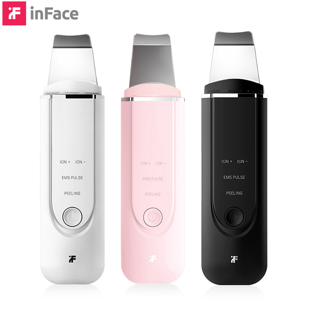 Inface MS7100 Ultrasonic Skin Scrubber Ion Cleansing Stimulation Facial Pore Cleaner Peeling Shovel High Frequency Vibration