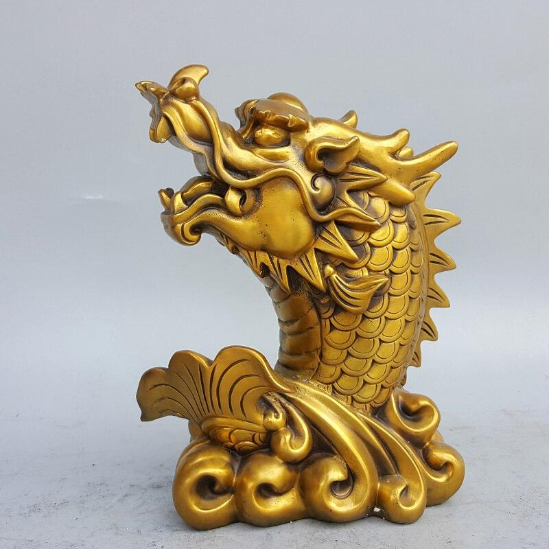 mascote peixe Dragão de cobre FENG SHUI estátua
