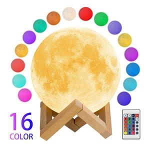 Светодиодный ночной Светильник 3D печать Луны лампа Перезаряжаемые Цвет изменения 3D светильник сенсорный лунный свет Детский Светильник s ночной Светильник для дома