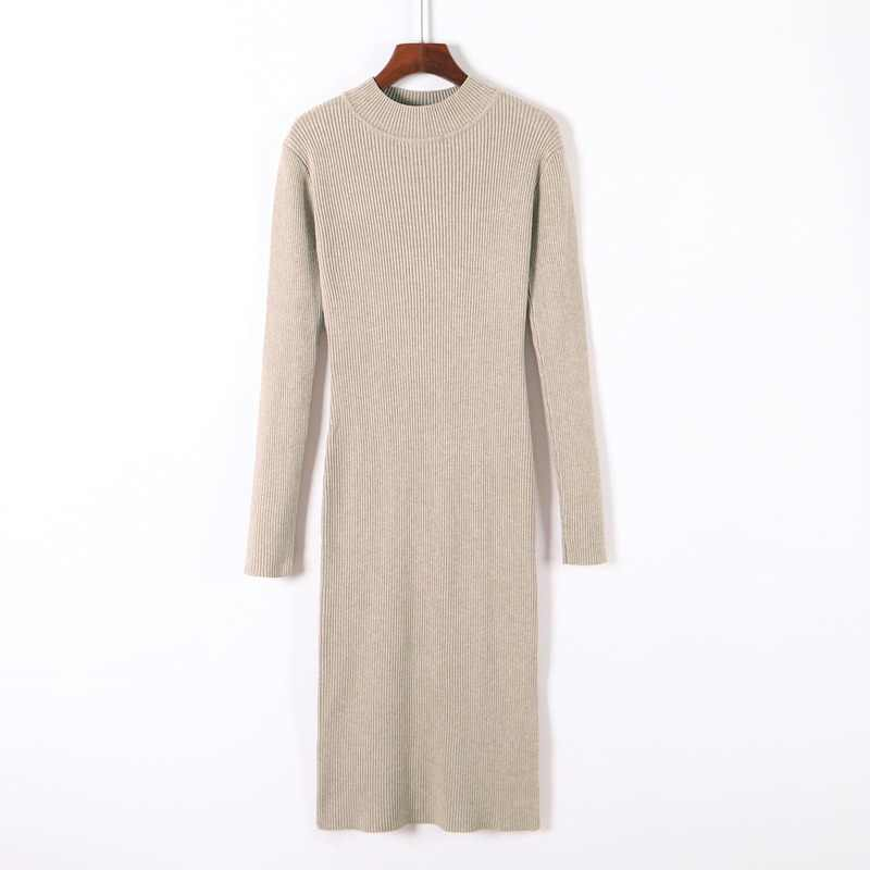Elegante ol camisola vestido feminino inverno quente malhas magro a linha básica casual rosca meados de bezerro senhora vestidos de queda para mulher