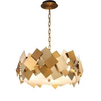 Nordic Modern Gold Stainless Steel Pendant Lamp For Living Dinning Room Decor American Simple Metal Hanging Lighting