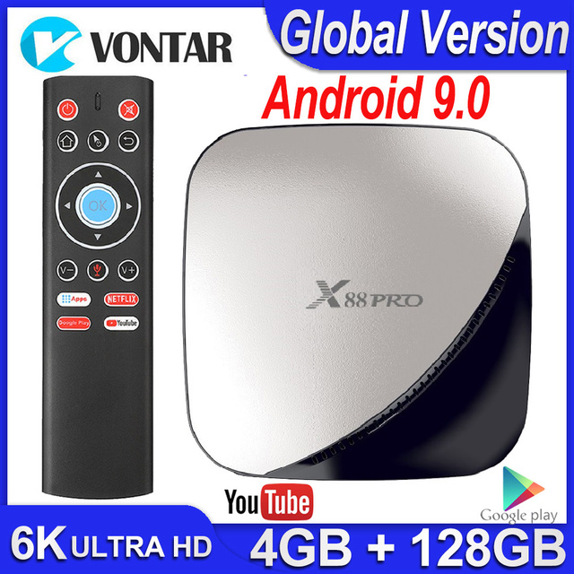 טלוויזיה תיבת אנדרואיד 9 9.0 חכם טלוויזיה תיבת X88 Pro 4GB RAM 32GB/64GB/128GB ROM אנדרואיד טלוויזיה תיבת 4K 60fps RK3318 TVBOX Google נגן Youtube